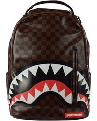Sprayground Sharks In Paris Gold Zipper Backpack - Brown
