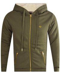 True Religion - Olive Fleece Hooded Jacket - Lyst