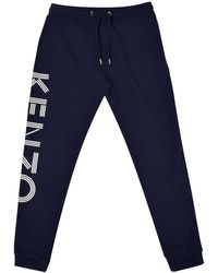 KENZO - Navy/white Text Jogging Bottoms - Lyst