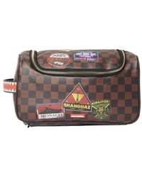 Sprayground Checkered Travel Patches Toiletry Bag - Brown