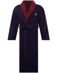 Polo Ralph Lauren Navy Contrast Logo Dressing Gown - Blue