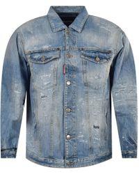 DSquared² Light Wash Distressed Denim Jacket - Blue