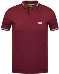 BOSS Green - Slim-fit Stretch-cotton Polo Shirt With Contrast Tipping - Lyst