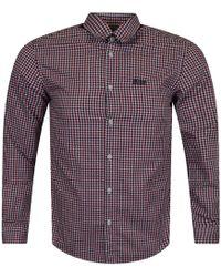 BOSS - Athleisure Red Check Logo Shirt - Lyst