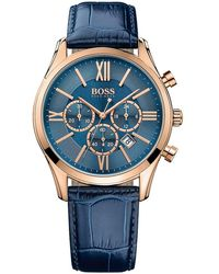 BOSS - Hugo Boss Blue Leather/rose Gold Watch - Lyst