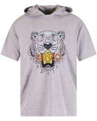 KENZO Pale Gray Tiger Print Hooded T-shirt