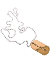 Palm Angels Gold Dog Tag Necklace - Metallic