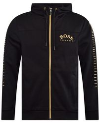compare price latest selection of 2019 sleek Black And Gold Full Zip-through Hoodie