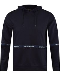 Emporio Armani Navy Tape Pullover Hoodie - Blue