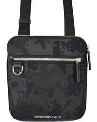 Emporio Armani Black Camo Canvas Cross-body Bag