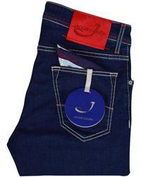 Jacob Cohen Dark Blue Red Tab Slim Fit Jeans