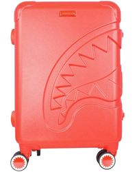 Sprayground Red Sharkitecture Carry On Suitcase