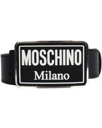 Moschino Enameled Buckle Belt - Black