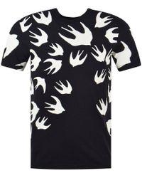 McQ - Black/white Swallow Print T-shirt - Lyst