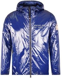 3 MONCLER GRENOBLE Navy Blue Shiny Nylon Cillian Down Jacket