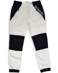 3 MONCLER GRENOBLE Cream/black Fleece Track Trousers