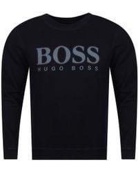 BOSS Orange - Hugo Boss Dark Blue Spray Logo Sweatshirt - Lyst