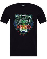 KENZO - Black Green Contrast Tiger Head T-shirt - Lyst