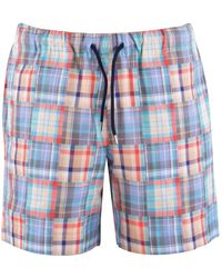 PS by Paul Smith Multicoloured Check Swim Shorts - Blue