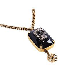Alexander McQueen Gold Skull On Black Crystal Jeweled Necklace - Metallic