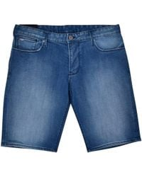 Emporio Armani Mid Blue Denim Logo Shorts