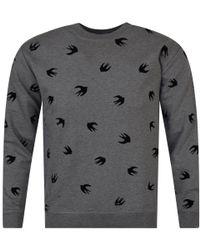 McQ - Dark Grey/black Felt Multi Bird Logo Sweatshirt - Lyst