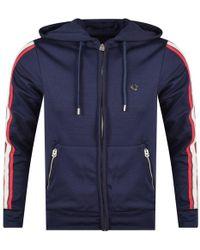 True Religion - Navy Stripe Hooded Zip Jacket - Lyst