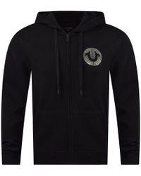 True Religion - Black Gel Logo Zip Hoodie - Lyst