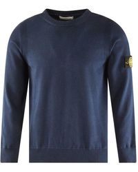 Stone Island Navy Badge Knitted Sweater - Blue