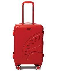 Sprayground Red Sharkitecture Carry On Suitcase
