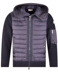 Moncler Navy Padded Tricot Cardigan - Blue