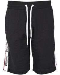 Moschino - Black Logo Tape Shorts - Lyst