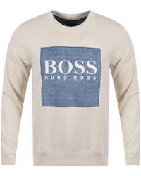 BOSS by Hugo Boss - Off White Wedford Sweatshirt - Lyst