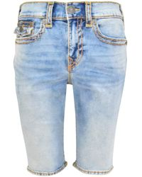 True Religion Light Wash Blue Rocco Flap Shorts