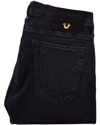 True Religion - Rocco Relaxed Skinny Distressed Jeans In Black - Lyst