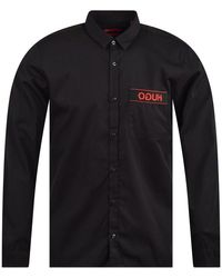 BOSS Black Shirt With Logo Ribbon