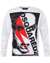 DSquared² Bowie Print Sweatshirt - White