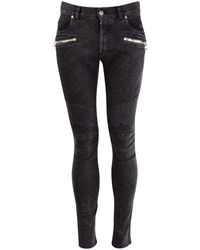 Balmain - Dark Grey Denim Skinny Jeans - Lyst