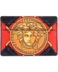 Versace Black/red/gold Medusa Cardholder - Metallic