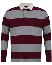 Polo Ralph Lauren - Heather Grey & Burgundy Stripe Iconic Rugby Polo Shirt - Lyst