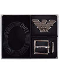 Emporio Armani Leather Belt Gift Set - Black