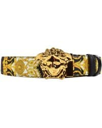 Versace - Gold Hibiscus Print Palazzo Belt - Lyst
