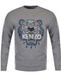 KENZO - Grey/blue Tiger Logo Sweatshirt - Lyst
