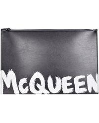 Alexander McQueen Black Graffiti Clutch Bag