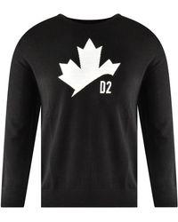 DSquared² Black & White Maple Leaf Knitted Jumper