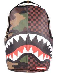 Sprayground Checks And Camo Backpack - Brown