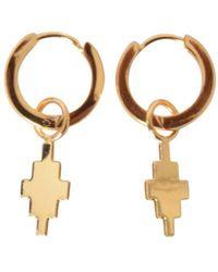 Marcelo Burlon Gold Tone Small Hoop Cross Earrings - Metallic