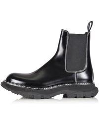 Alexander McQueen Black Tread Ankle Boots