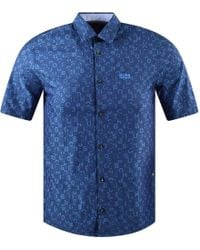 BOSS - Open Blue Short Sleeve All Over Logo Print Brodi Shirt - Lyst