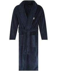 Polo Ralph Lauren Navy Robe Dressing Gown - Blue
